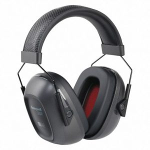 Black ear muffs with red colored insides